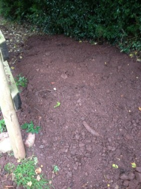 Silt removed from drain before levelling